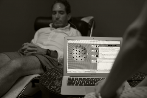 neurofeedback assessment performed on man in addiction recovery